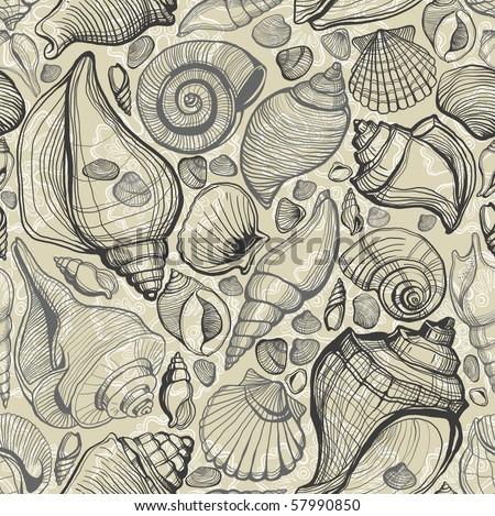 sea shell pattern - stock photo