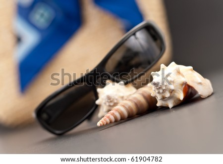 Sea Shell with Beach Assets in Shallow DoF - stock photo