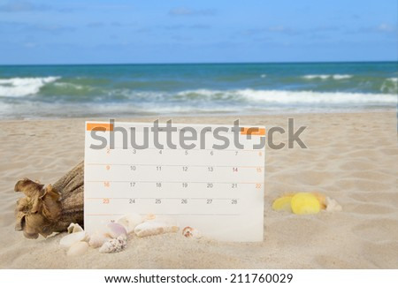 Sea shells and calender pad on white sand beach background collection  - stock photo