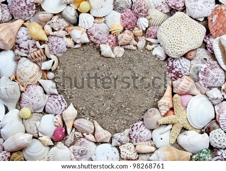 Sea shells making a frame in the shape of a heart - stock photo
