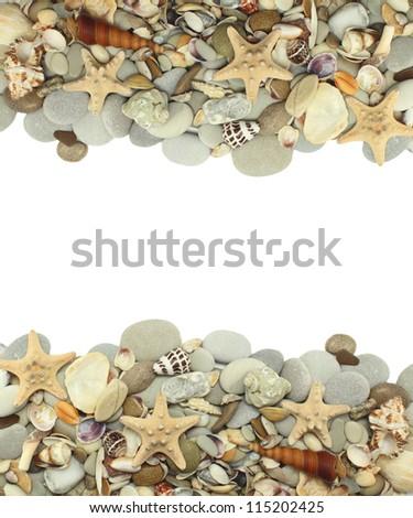 sea shells stones frame - stock photo