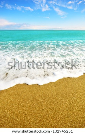 Sea shore at summer sunny day with copy-space - stock photo