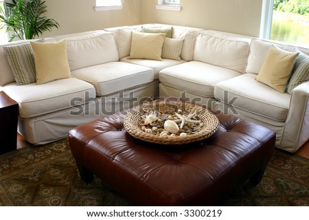 sea side cottage living room - stock photo