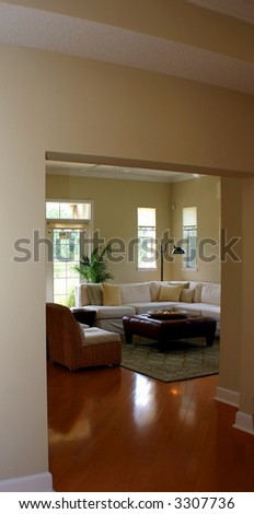 sea side cottage living room - stock photo