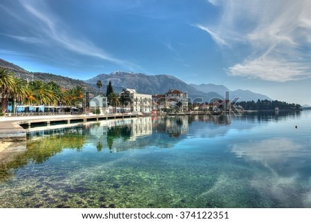 Sea sky and mountains HDR landscape. Adriatic sea with beautiful houses. - stock photo