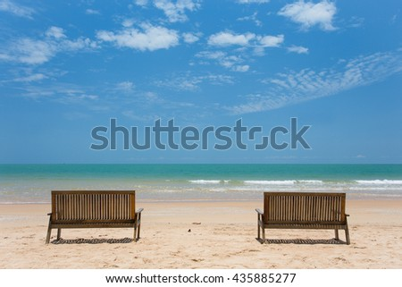 sea sky blues two chair vacation stock photo royalty free