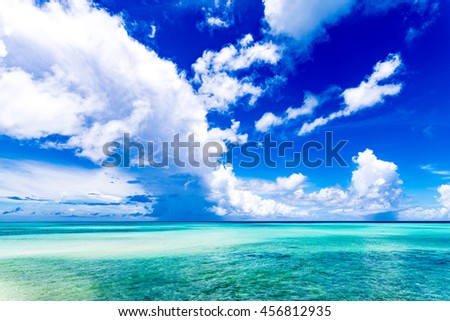Sea, sky, clouds, landscape. Okinawa, Japan, Asia.