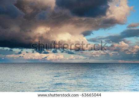 sea sky, storm, tempest, sky clouded over