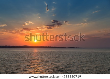 sea sky sunset sun landscape - stock photo