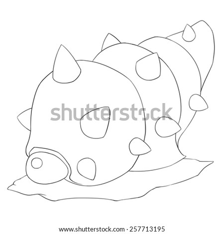 Sea Snail Monster Line Art - Creature Design - stock photo