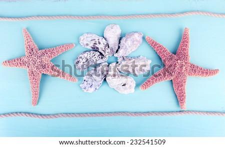 Sea souvenirs on light blue background - stock photo