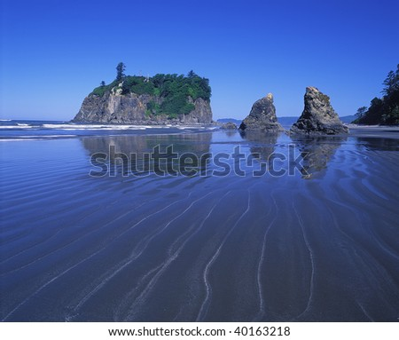 Sea stacks and reflection on Second Beach in Olympic National Park, Washington.
