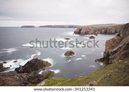 sea stacks on the coast of scotland - stock photo