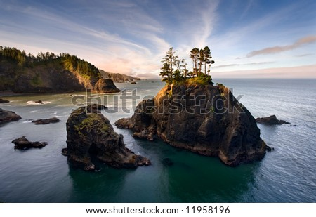 Sea Stacks on the Oregon Coast - stock photo