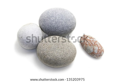 sea ??stones on a white background, close-up photo - stock photo
