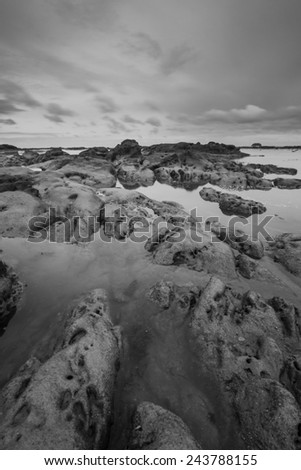 Sea stones textured and patterns.  Black and white photography. - stock photo
