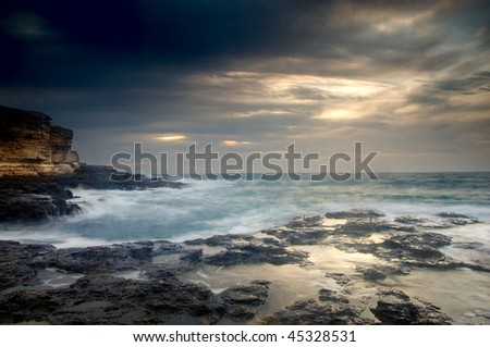 Sea storm - stock photo