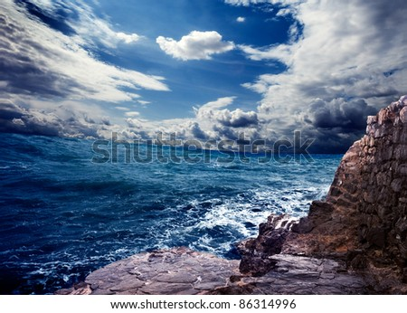 sea storm landscape - stock photo