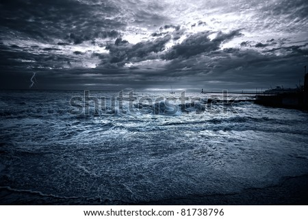 sea storm Sochi - stock photo