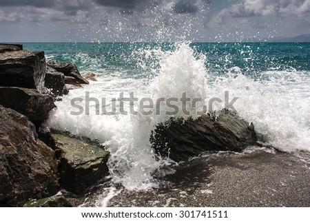 sea storm wave - stock photo