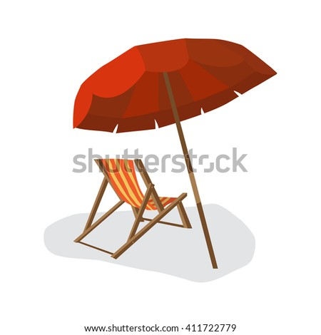 Sea summer beach, sun umbrellas, beach beds isolated with shadow on white background. Umbrella and deskchair on a beach in summer day vacation. Flat illustration