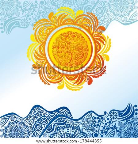 Sea sun pattern nature background illustration - stock photo