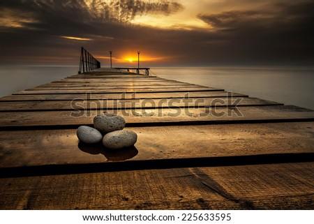 Sea sunrise at the Black Sea coast near Varna, Bulgaria - stock photo