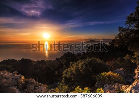 Sea Sunrise. Dawn at Coast of Sicily. Europe Landscape from Mountains in Italy, Europe