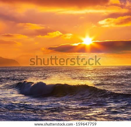 sea sunset - stock photo