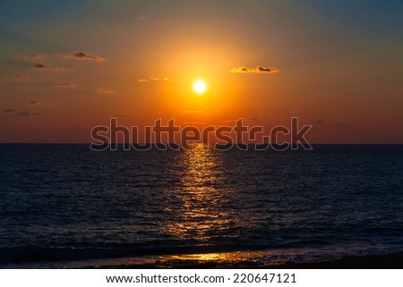 Sea Sunset.  Beautiful sunset - stock photo