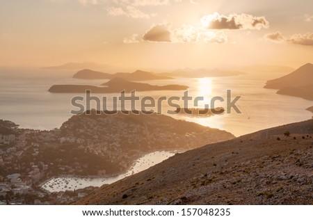 Sea sunset. Dubrovnik, Croatia - stock photo