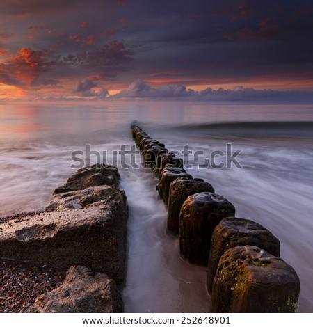 Sea sunset in north Poland/Sea sunset - stock photo