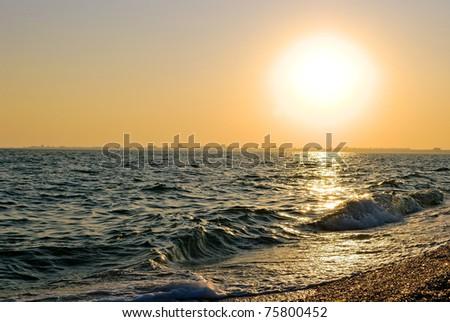sea sunset light. Crimea, Ukraine - stock photo