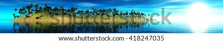 sea sunset on a tropical island, banner, 3D rendering - stock photo