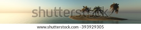 sea sunset on a tropical island, panorama, banner. - stock photo