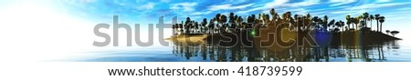 sea sunset, panoramic, 3D rendering. Sunset over a tropical island on a background of blue sky with clouds. - stock photo