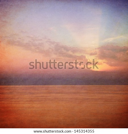 sea sunset - retro style picture - stock photo