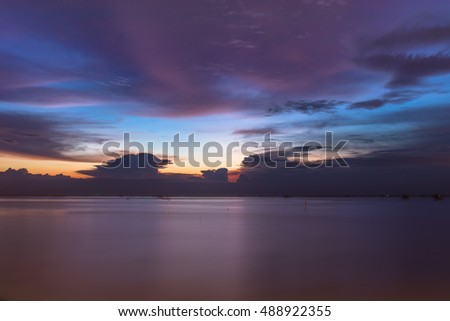 Sea sunset view Chonburi Thailand with tone image