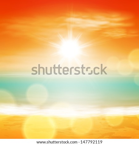 Sea sunset with bright sun, light on lens. Raster version of the loaded vector. - stock photo