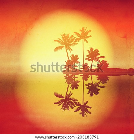 Sea sunset with island and palm trees. Retro style with old textured paper. - stock photo