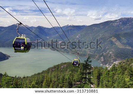 SEA TO SKY GONDOLA - SEPT.5, 2015: New gondola, open in May 2014 near Squamish, B.C. offer new look of the Howe Sound, surrounding mountains, Stawamus Chief, Squamish Valley and numerous of new trails - stock photo