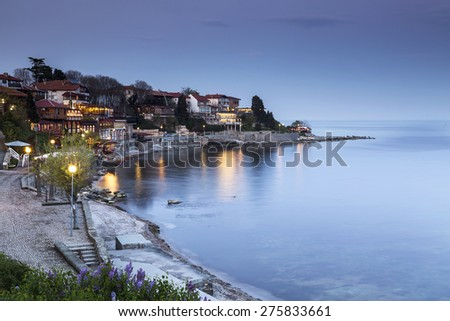 Sea Town at night - stock photo