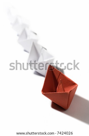 sea transport origami ships - stock photo