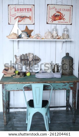 sea travel styled shabby chic interior corner - stock photo