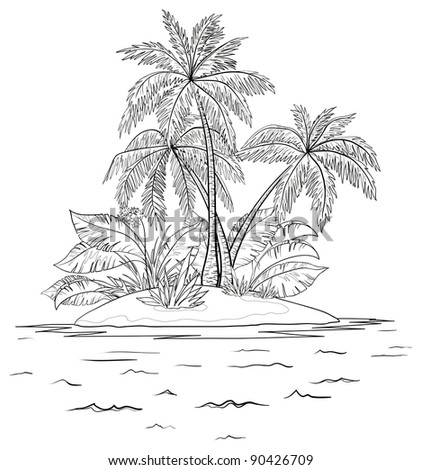 sea tropical island with palm trees, contours