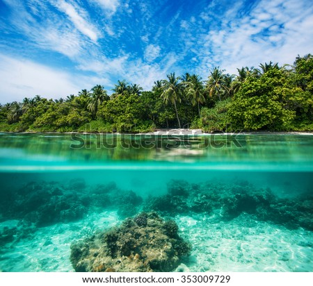Sea tropical underwater paradise. Water line splits image to two parts. Beautiful Maldivian sky with clouds and palm sandy beach. Tropical design element with corals and sand. - stock photo