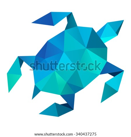 Sea turtle geometric (illustration of a many triangles) - stock photo