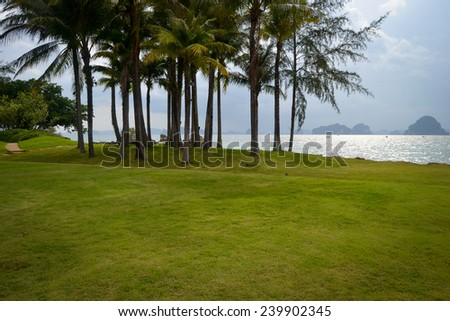 Sea view after sunset on the beach - stock photo