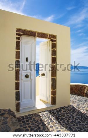 Sea view and architecture in Oia, Santorini, Greece - stock photo