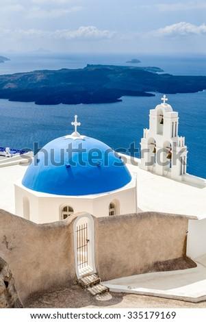 Sea view and white blue church, Santorini, Greece - stock photo